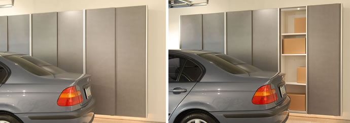 Garage Sliding Door Cabinets Space Saving Solutions