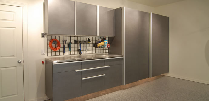 Windswept Pewter & Garage Cabinets Garage Storage Solutions Workbench Organization ...